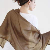 Brown scarf Silk wrap Sheer shawl peace silk scarf silk evening wrap Ahimsa silk scarf Bridesmaid's gift silk evening shawl brown scarf MIA