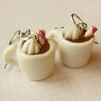 hot cocoa hot chocolate earrings - polymer clay