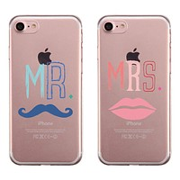 Mr. Mrs. Mustache Lips Couple Matching Phone Cases Cool Anniversary