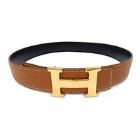 HERMES Constance Calf Togo Black Gold 70 Belt Made France Ladies Mint #0018