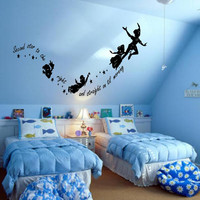 PETER PAN never never land flying childrens nursery vinyl decor wall mural decal silhouette