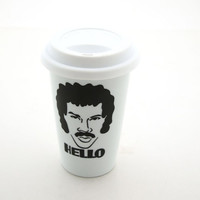 Lionel Richie Hello Travel Mug Double Walled Porcelain by LennyMud