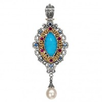 Gerochristo 3286N ~ Solid Gold & Sterling Silver Medieval Doublet Multi-Stone Large Pendant