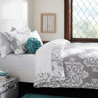 Ikat Medallion Duvet Cover + Sham, Light Grey