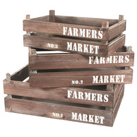 Farmers Market Wooden Crate Nested Set of 3