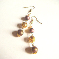 Brown and gold earrings, brown and gold triple beaded earrings, gift for her, jewelry for autumn, dangle earring, fall jewelry, gift for her