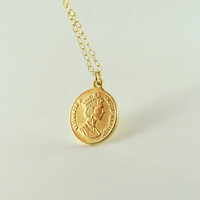 Gold Coin Necklace, gold coin pendant, gold disc pendant,Large coin necklace, british coin, ancient coin,gold filled coin necklace