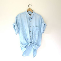 vintage chambray tshirt. washed out light denim shirt. button up faded wash jean shirt. oversized boyfriend tee shirt. mens XL
