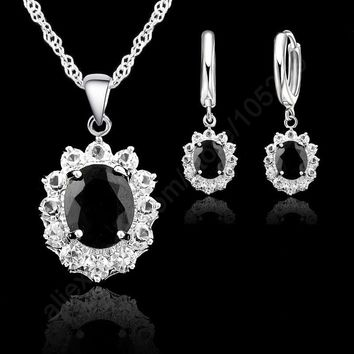 JEXXI Elegant Princess Kate Wedding Engagement Necklace Earring Jewelry Sets 925 Sterling Silver Cubic Zirconia Crystal Gifts