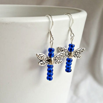 Dragonfly Earrings, Free Shipping Blue and Silver Dragonfly Earrings, Nickel Free Cobalt Blue Handmade  Dragonfly Earrings