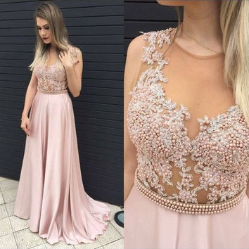 Pink Pearls Applique Prom Dresses