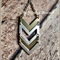 CHEVRON NECKLACE, geometric, arrow, silver and gold, statement, womens gold necklace, unique, gift