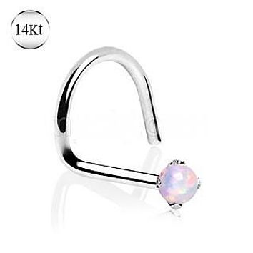 14Kt White Gold Nose Screw with Prong Set Opalite