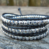Beaded Leather Wrap Bracelet 3 Wrap with Silver Czech Glass Beads on Black Leather Spring Summer