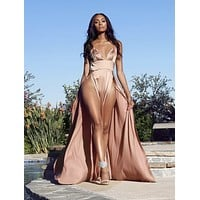 Silky Smooth Nude Dress Celebrity Style