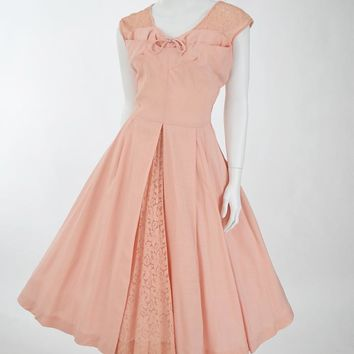 50's Pink Linen and Lace Full Skirt Party Dress-M