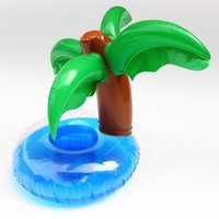 New Inflatable Plam Tree Drink Pool Float Inflatable Cola Beverage Cup Holder Christmas Party Supplies