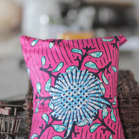Pink African fabric accent pillow cover