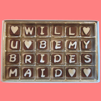 Will U You Be My Bridesmaid Cubic Chocolate Letters Creative Funny Luxury Gift Invitation Way to Ask WARM WEATHER Shipping