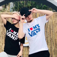 Vans Fashion new bust letter love heart couple short sleeve top t-shirt two color