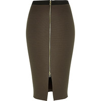 River Island Womens Khaki zip front pencil skirt