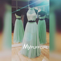 Mint Green Two Piece Prom Dress, High Neck Tulle Formal Gown