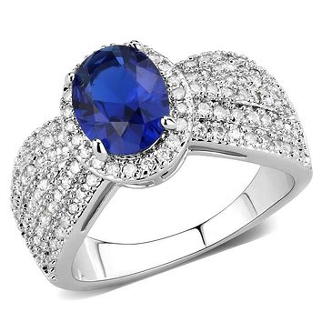 Right Hand Ring 3W1563 Rhodium Brass Ring with Synthetic in London Blue