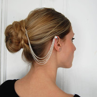 Chain Hair Comb and Ear Cuff by theriveriseverywhere on Etsy