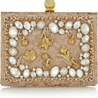 Dolce & Gabbana - Ava crystal-embellished satin and lace box clutch