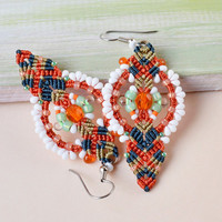 Orange macrame earrings, micro macrame jewelry, bohemian earrings, dangle beaded earrings, beadwork, original design, unique gift for her