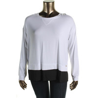 Calvin Klein Womens Knit Colorblock Pullover Top