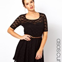 ASOS CURVE Lace Skater Dress With Belt And 3/4 Sleeve at asos.com