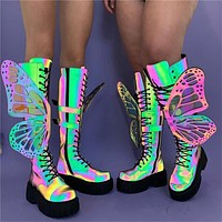 Women Reflective Removable Butterfly Platform Knee High Boots