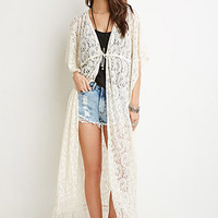 Paisley-Patterned Lace Cardigan