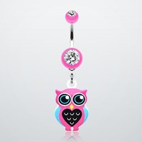 Owl Love Belly Button Ring