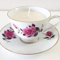 Tea Cup Soy Candle with Pink Flowers