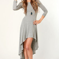 For the Longest Time Backless Heather Grey Dress