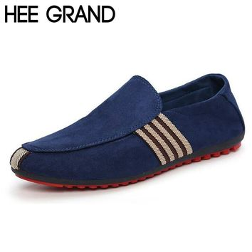 HEE GRAND Brand 2017 Fashion Slip-On Flat Breathable Casual Male Shoes, Striped Solid Men XMR212