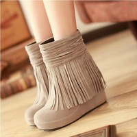 Frosted fringed boots from Girl boutique