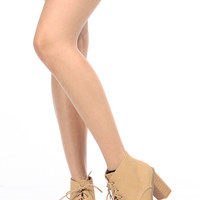 Beige Faux Nubuck Stacked Chunky Lace Up Booties