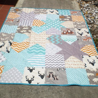Modern Baby quilt,grey,teal,orange,chevron,Patchwork crib quilt,baby girl or boy bedding,rustic,organic,Hello Bear,Woodland Falling Stars