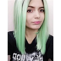 Short Black To Bright Mint Green Bob Synthetic Lace Front Wig