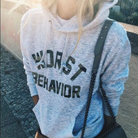 """"""" Worst Behavior """" Women's Autumn Fashion Long Sleeve Hooded Hoodies Draw Cord Pure Color Pocket Sport Coat Sweater Shirts _ 9252"""