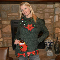 liquor, flask holder, Party Sweater, Ugly Christmas Sweater, Women LARGE alcohol, cowl neck, one of a kind, party pocket, jumper