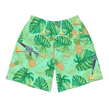 Pineapples and Carbines Hawaiian Men's Athletic Shorts