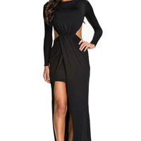 Black Long Sleeve Cut Out Slit Maxi Dress