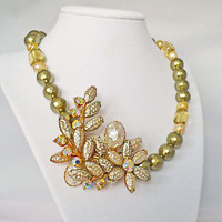 Upcycled Gold Vintage Pearl Brooch Necklace