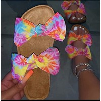 Women's shoes, thick-soled bowknot, satin slippers, women's word sandals and slippers, flat sandals