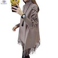 2017 New Autumn Winter Women Turtleneck Sweater Batwing Sleeves Knitted Pullover Sweaters Shawl Cape Outerwear TNLNZHYN E291