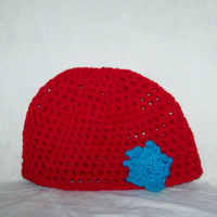 Red Mesh Hat WithTurquoise Flower